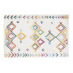 Dywanik pod łóżko ANGKOR w stylu berberyjskim – 60 × 110 cm – kolor beżowy z wielokolorowym motywem