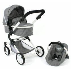 Bayer Chic wózek dla lalek LIA z fotelikiem samochodowym jeans-szary