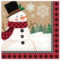 Ozdoby świąteczne, Serwetki na Boże Narodzenie z Bałwankiem - 25 cm - 16 szt.