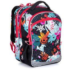 Czarny plecak szkolny z wzorem kwiatów Topgal COCO 21006 G