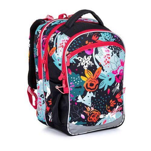 Tornistry i plecaki szkolne, Czarny plecak szkolny z wzorem kwiatów Topgal COCO 21006 G