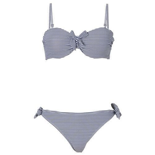 Stroje kąpielowe, Bikini na fiszbinach bonprix ciemnoniebiesko-biały w paski