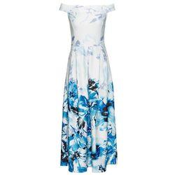 Sukienka off-shoulder bonprix biało-niebieski w kwiaty