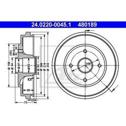 BĘBEN HAM ATE 24.0220-0045.1 OPEL AGILA 1.2 16V 00-, 1.2 16V TWINPORT 04-, 1.3CDTI 03-