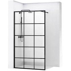 REA BLER 1 Ścianka prysznicowa 100cm, czarne profile + powłoka EASY CLEAN, loftowe