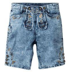 Bermudy dżinsowe w ludowym stylu Regular Fit bonprix niebieski