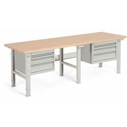 Stół warsztatowy ROBUST, z regulacją wysokości, 6 szuflad, 800x2500 mm