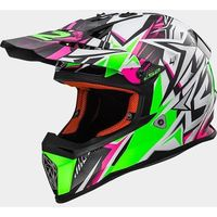Kaski motocyklowe, KASK LS2 MX437J FAST MINI STRONG WHITE/GREEN/PINK