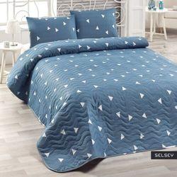 SELSEY Narzuta Triangles 160x220 cm z poszewką na poduszkę 50x70 cm niebieska
