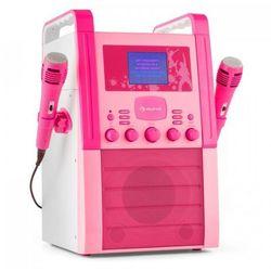 Auna A8P-V2 PK zestaw karaoke odtwarzacz CD AUX 2 x mikrofon różowy