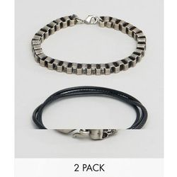 ASOS Bracelet Set With Chain And Skull In Burnished Finish - Silver