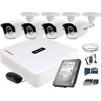 Zestawy monitoringowe, Zestaw do monitoringu 4 kamerowy Hikvision Hikator HD