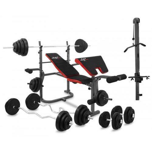 Pozostałe do siłowni, Zestaw 56kg / ławka Hiton Polska Gym 3 WL + gryfy + obciążenia