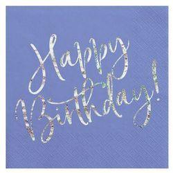 Serwetki urodzinowe granatowe Happy Birthday - 33 cm - 20 szt.