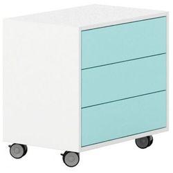 Szafka na kółkach, 3 szuflady White LAYERS, turkusowe szuflady