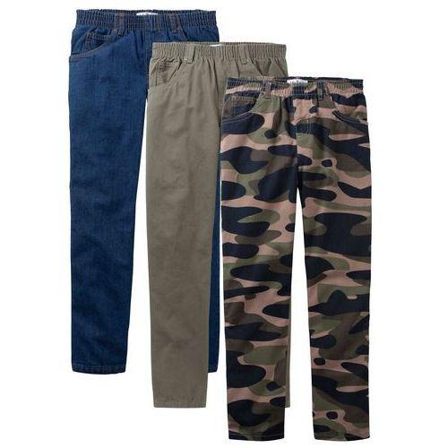 """Spodnie dziecięce, Luźniejsze spodnie chłopięce z gumką w talii (3 pary w opak.) bonprix moro + ciemnooliwkowy + niebieski """"stone"""