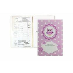 Okładka etui na książeczkę zdrowia dziecka, PVC - 2-różowa sówka i groszki