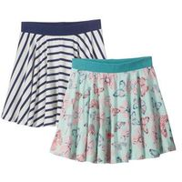 Spódniczki dziecięce, Spódniczka (2 szt.) bonprix w niebieskie paski + pastelowy miętowy wzorzysty
