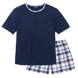 Piżama bonprix ciemnoniebieski w kratę