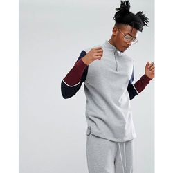 ASOS Longline Half Zip Track Sweatshirt With Colour Block Sleeves - Grey