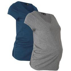 Shirt ciążowy basic (2 szt.) bonprix ciemnoniebieski + szary melanż