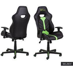 SELSEY Fotel gamingowy Salorno czarno-zielony
