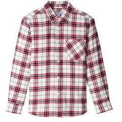 Koszula flanelowa w kratę, długi rękaw bonprix biel wełny - ciemnoczerwono-czarny w kratę
