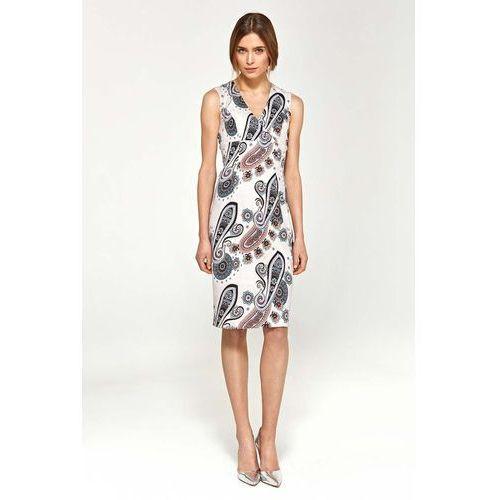 Suknie i sukienki, Wzorzysta Elegancka Dopasowana Sukienka do Kolan z Dekoltem V