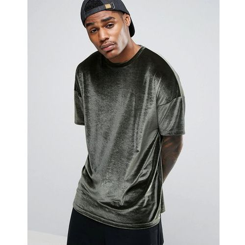 T-shirty męskie, ASOS Oversized T-Shirt In Velour In Khaki - Green