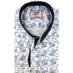 Koszula Męska Bassi biała/niebieska w motyle SLIM FIT na długi rękaw A088