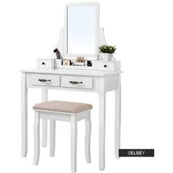 SELSEY Toaletka Shalow 80 cm z prostokątnym lustrem i taboretem