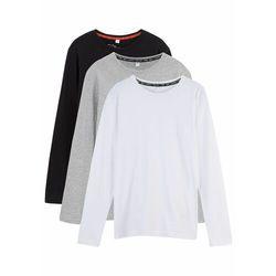 Shirt chłopięcy z długim rękawem (3 szt.) bonprix czarny + jasnoszary melanż + biały