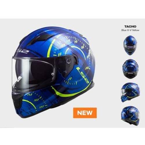 Kaski motocyklowe, KASK MOTOCYKLOWY COMFORT LS2 FF320 STREAM EVO TACHO BLUE H-V YELLOW - Nowość 2021 roku