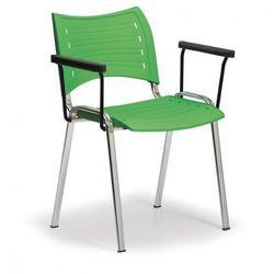 Plastikowe krzesła Smart - chromowane nogi z podłokietnikami