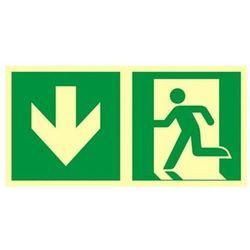 znak kierunek do wyjścia ewakuacyjnego w dół (lewostronny)