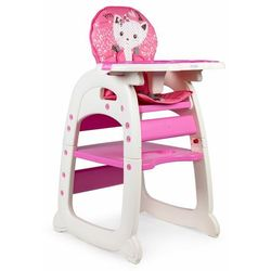 Fotelik do karmienia, stolik i krzesełko, 2w1, różowe