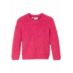 Sweter dziewczęcy z dzianiny z długim włosem bonprix czerwień granatu