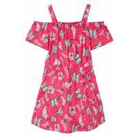 Sukienki dziecięce, Sukienka dziewczęca z dżerseju z bawełny organicznej bonprix różowy hibiskus