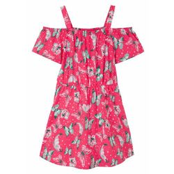 Sukienka dziewczęca z dżerseju z bawełny organicznej bonprix różowy hibiskus