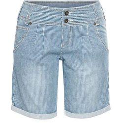 Krótkie spodenki dżinsowe bonprix niebieski w paski