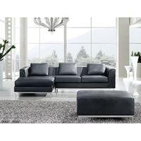 Narożniki, Sofa narożna P - skórzana - czarna - sofa z pufą - kanapa OSLO