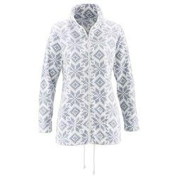 Bluza rozpinana z polaru, długi rękaw bonprix biel wełny - srebrnoszary z nadrukiem
