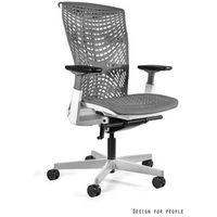 Fotele i krzesła biurowe, Fotel Unique REYA biały Elastomer Szary - wysuw siedziska - ZŁAP RABAT: KOD100