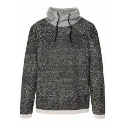 Sweter z szalowym kołnierzem bonprix czarno-jasnoszary melanż