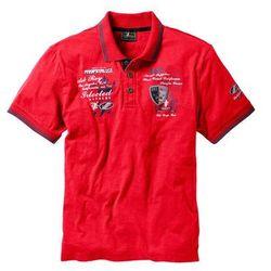 Shirt polo z efektownym zdobieniem bonprix czerwony