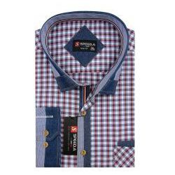 Koszula Męska Speed.A czerwona w kratkę z dodatkami jeans na długi rękaw duże rozmiary D875