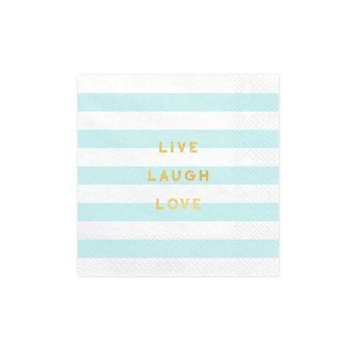 Pozostałe wyposażenie domu, Serwetki Live Laugh Love błękitne paski - 33 cm - 20 szt.