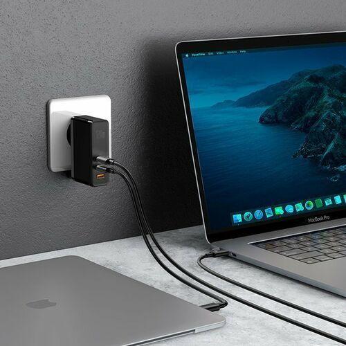 Smartbandy, Baseus GaN2 Pro | Ładowarka sieciowa 2x Type-C 1x USB-A 120W Power Delivery 3.0 Quick Charge 4.0 Huawei SCP Samsung Fast Charge 2.0 + kabel 100W