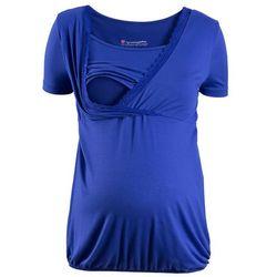 Shirt ciążowy i do kamienia, z koronkową wstawką, krótki rękaw bonprix szafirowo-niebieski