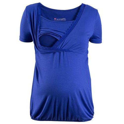 Pozostałe ciąża i macierzyństwo, Shirt ciążowy i do kamienia, z koronkową wstawką, krótki rękaw bonprix szafirowo-niebieski